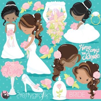 Wedding bride clipart commercial use, vector graphics, digital - CL837