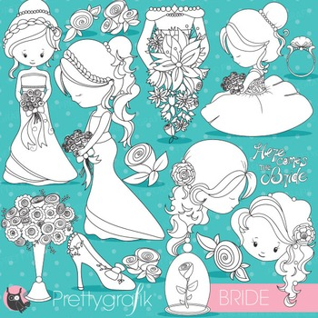Wedding bride stamps commercial use, vector graphics, images - DS830