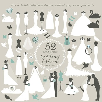 Wedding clip art clipart wedding dress brides groom romantic marriage swans