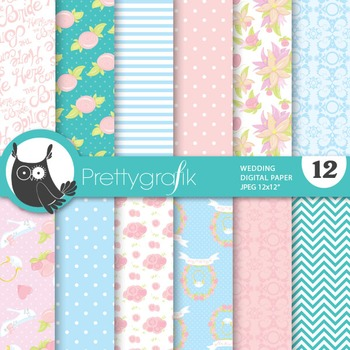 Wedding digital paper, commercial use, scrapbook papers, marriage - PS711