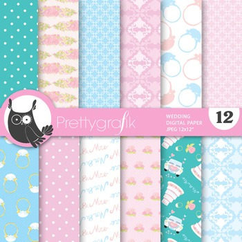 Wedding digital paper, commercial use, scrapbook papers, m