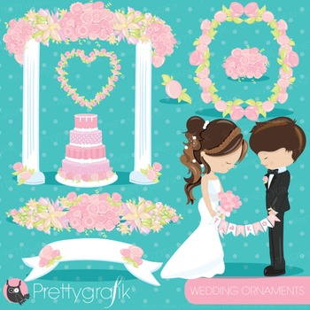 Wedding marriage clipart commercial use, vector graphics, digital - CL833