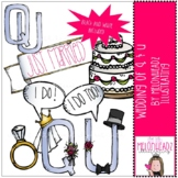 Wedding of Q and U clip art - by Melonheadz Clipart