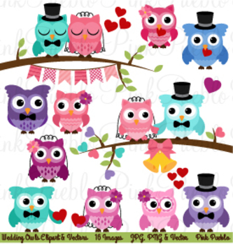 Wedding or Valentine's Day Owls and Branches