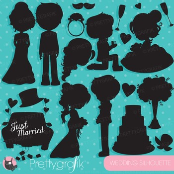 Wedding silhouette clipart commercial use, vector graphics, digital - CL832