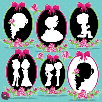 Wedding silhouette clipart commercial use, vector graphics, digital - CL955