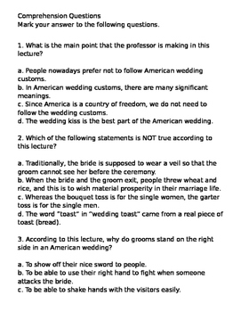 Wedding traditions lesson plan