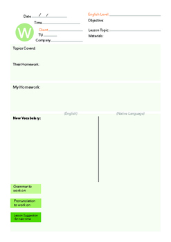 Wednesday English Lesson Plan Template