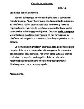 Wednesday Folder - Parent Communication Log in Spanish