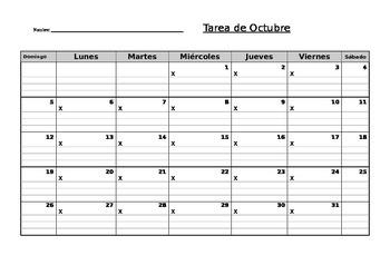Homework Log- Spanish