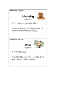 Wednesday Surprise Vocabulary