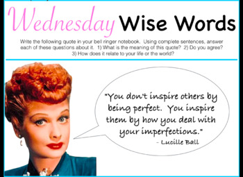Wednesday Wise Words Morning/Bell Work Keynote - FULL YEAR!