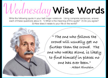 Wednesday Wise Words Morning/Bell Work PDF - FULL YEAR!