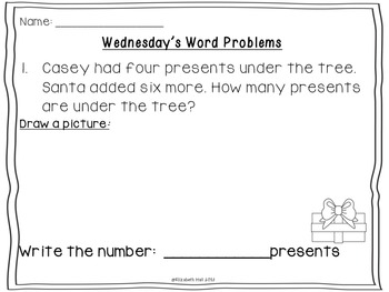 Wednesday Word Problem October-December {editable}