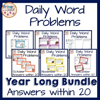 Wednesday Word Problems for Kindergarten- THE WHOLE YEAR