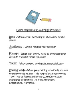 Wee Can Write R.A.F.T.S. Prompts Aligned with the Common Core Text Types