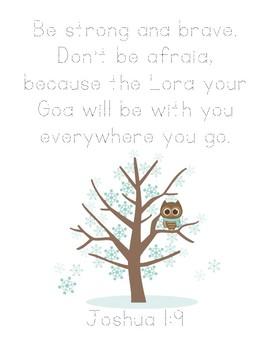 Owl Moon Bible Verse Printable (Joshua 1:9)