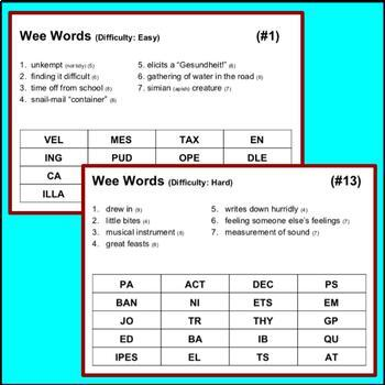 Wee Words: A Quick and Easy Word Game (to improve spelling & vocabulary)