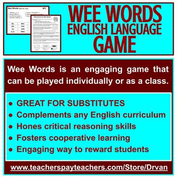 Wee Words: A Quick and Easy Word Game (to improve spelling