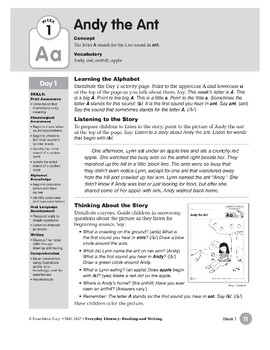 Week 01: Andy the Ant--Aa (Everyday Literacy, Reading & Writing)