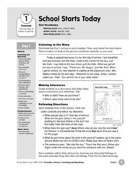 Week 01: School Starts Today (Everyday Literacy, Listening & Speaking)