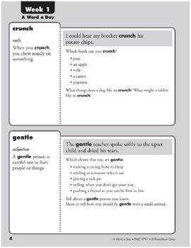 Week 01: crunch, gentle, odor, dash (A Word a Day)