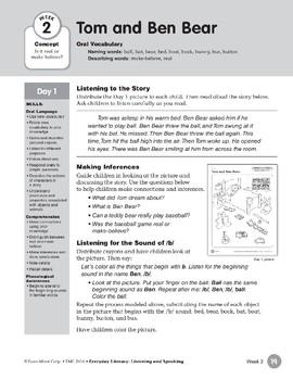 Week 02: Tom and Ben Bear (Everyday Literacy, Listening & Speaking)