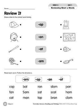 Week 03: Review It (Word Families -am,-ap,-an,-at)
