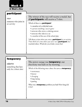 Week 04: participant, temporary, purchase, ignore (A Word a Day)