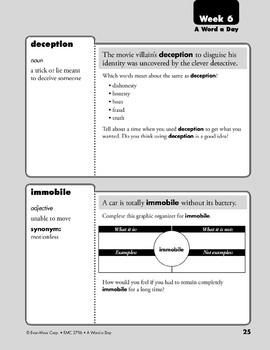 Week 06: perennial, comprehend, deception, immobile (A Word a Day)