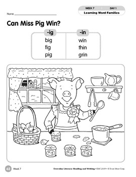 Week 07: Can Miss Pig Win? (Word Families -ig,-in)