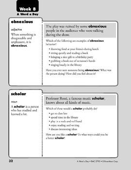 Week 08: obnoxious, scholar, vigorous, etiquette (A Word a Day)