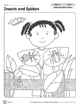 Week 09: Insects and Spiders (Everyday Literacy, Listening & Speaking)