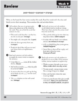 Week 09: pest, boast, scamper, strange (A Word a Day)
