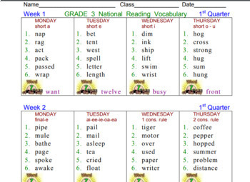 Common Core Daily Word Work (Free Sample)