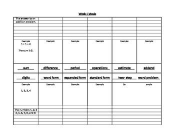 Week 1 Math HW FSA test prep vocab
