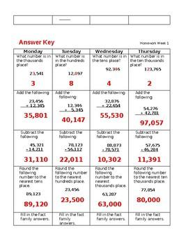 Week 1 Math Homework/Class Starter