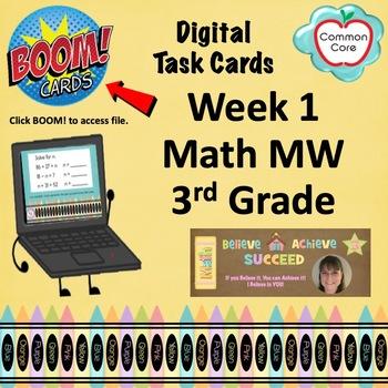 BOOM CARDS - Week 1 Spiral Review Math Morning Work - 3rd Grade