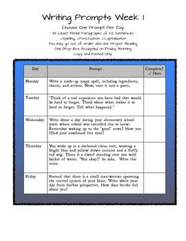 Week 1 Writing Prompts
