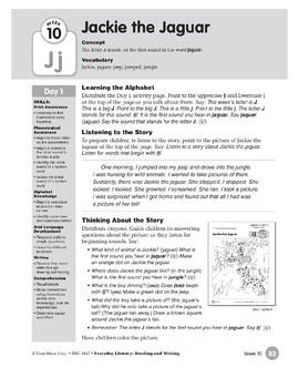 Week 10: Jackie the Jaguar--Jj (Everyday Literacy, Reading & Writing)