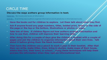 Week #10 Kindergarten Lesson Plans:  Informational Text/Expository Text