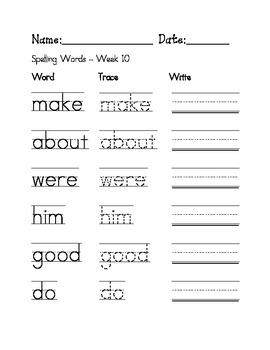 week 10 sight words spelling words worksheet by mrs hilland tpt. Black Bedroom Furniture Sets. Home Design Ideas