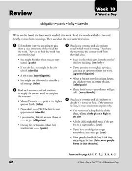 Week 10: obligation, panic, lofty, dawdle (A Word a Day)