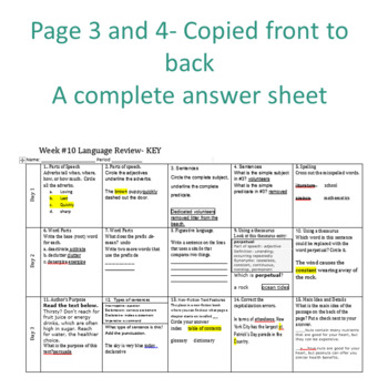 Week 10 of Middle School or Grade 6 ELA Warm Up- Language Arts Bell work
