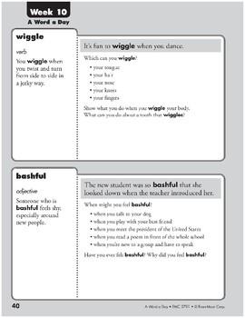 Week 10: wiggle, bashful, harbor, soar (A Word a Day)