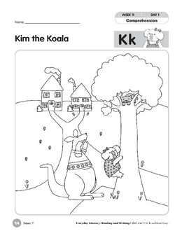 Week 11: Kim the Koala--Kk (Everyday Literacy, Reading & Writing)