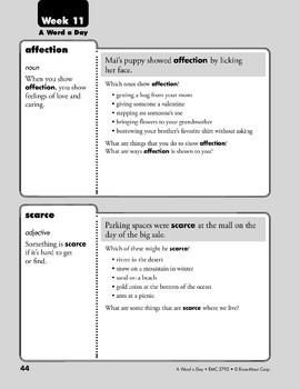 Week 11: affection, scarce, inhabit, identical (A Word a Day)