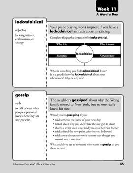 Week 11: gloomy, ache, lackadaisical, gossip (A Word a Day)