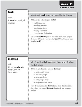 Week 11: jabber, damp, task, dismiss (A Word a Day)
