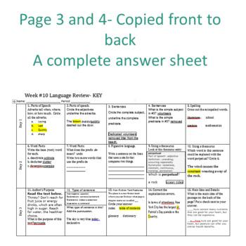 Week 11 of Middle School or Grade 6 ELA Warm Up- Language Arts Bell work